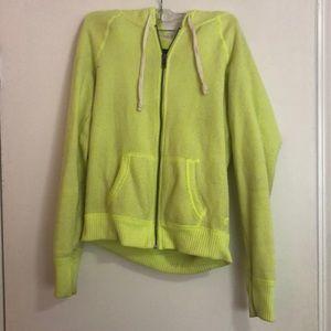 Neon Yellow Zip Up sweatshirt